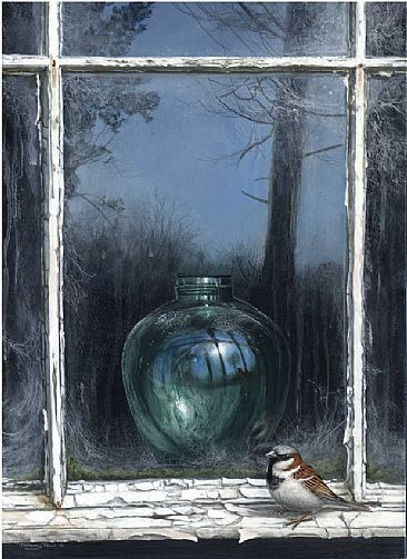 | Reflections in a green jar - house sparrow by Jeremy Paul