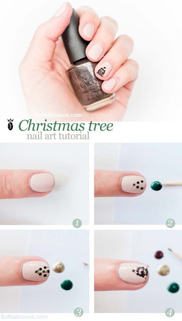 Easy Christmas Tree Nail Art Designs Step by Step at Home | Holiday ...