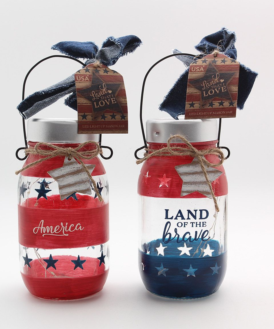 Love this red u blue led mason jars set of two by youngus on