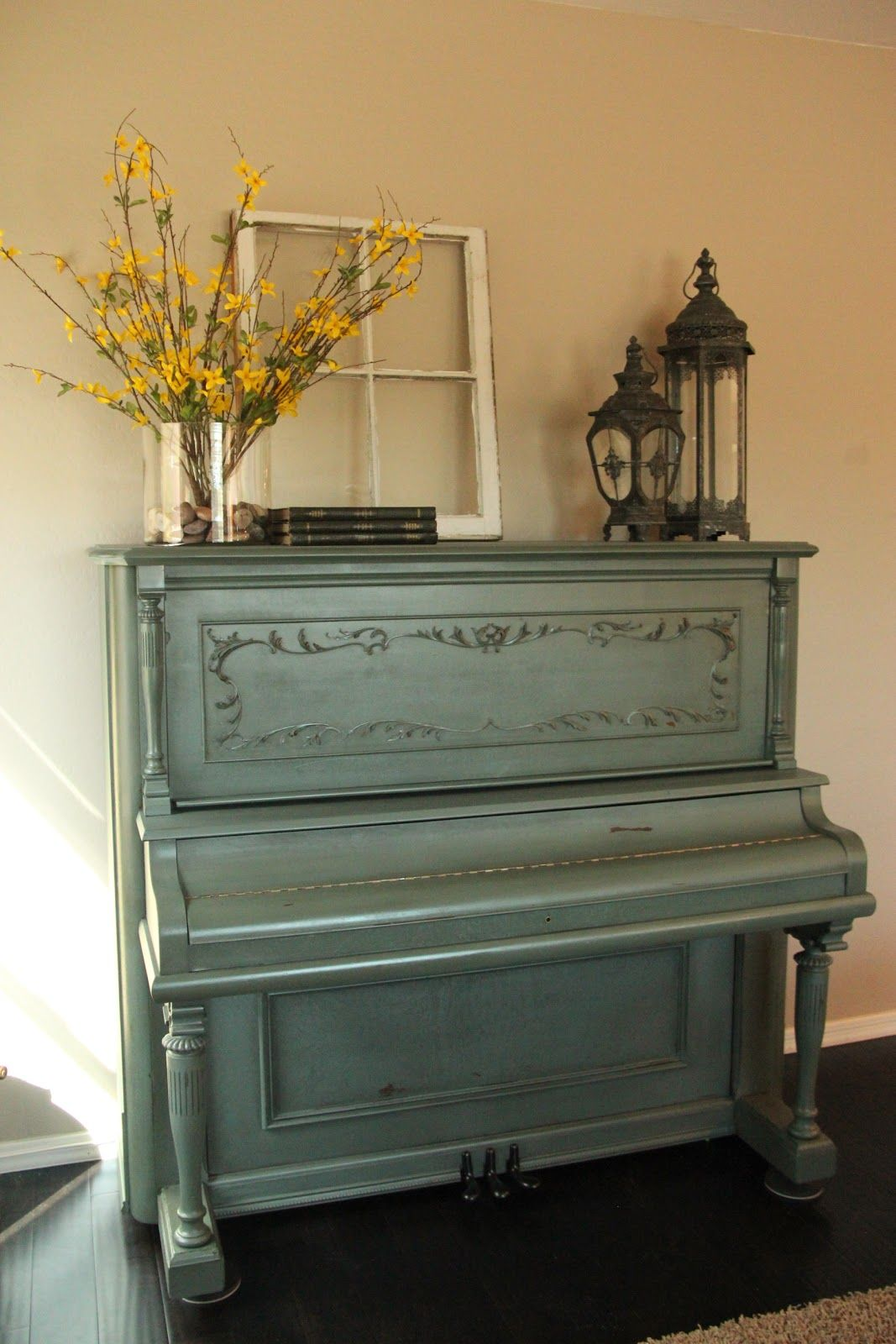 In my rustic dining room I will have my China hutch and piano