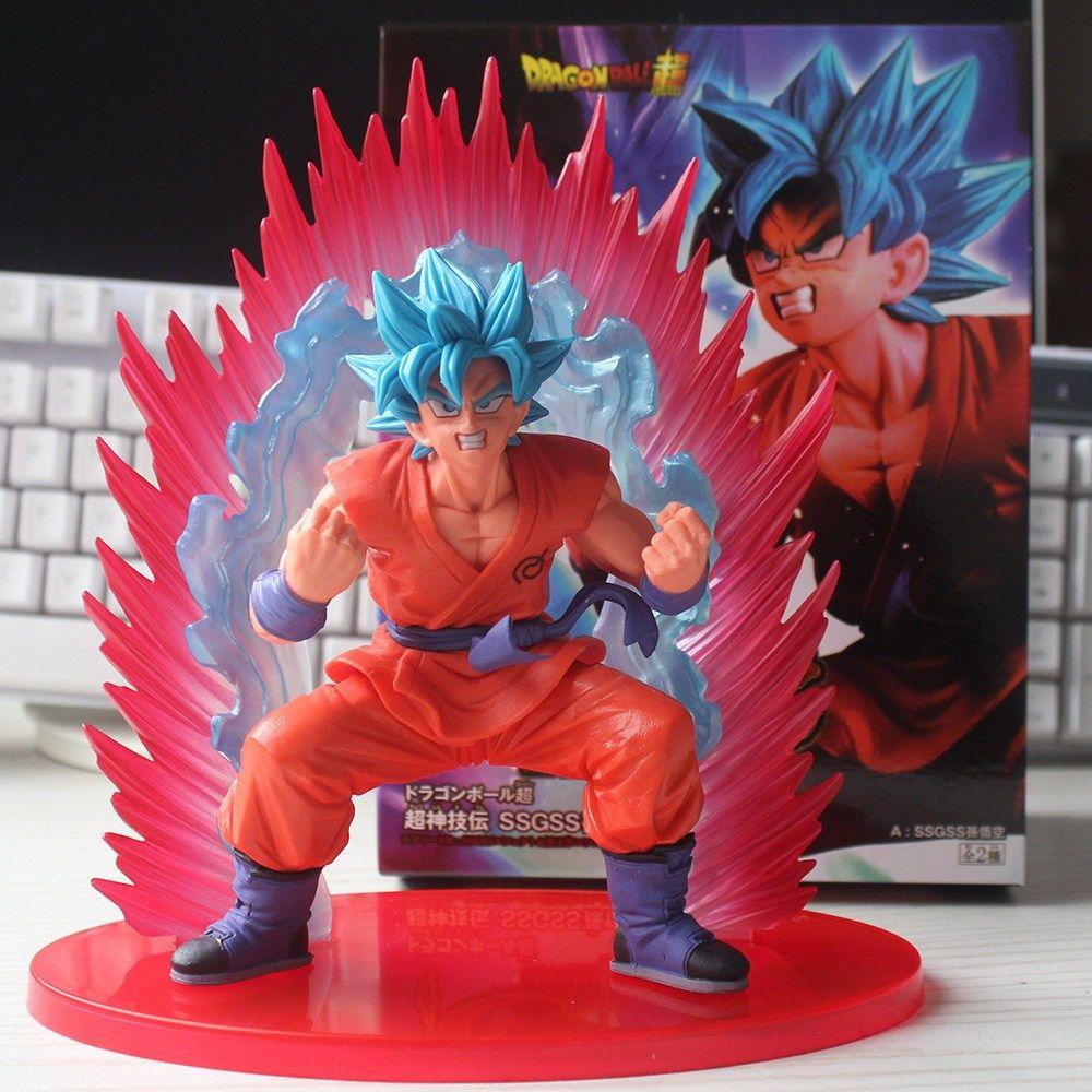 Anime Dragon Ball Super Son Goku Figure Super Saiyan God Kaiouken Goku Blue Hair Model Toy 17cm Figuras De Anime Armas De Fantasia Marvel Contest Of Champions