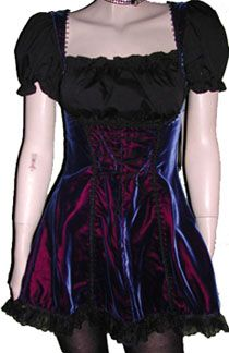Jeannie Nitro short iridescent blue x-dyed velvet Barmaid dress with cotton bodice and short sleeves