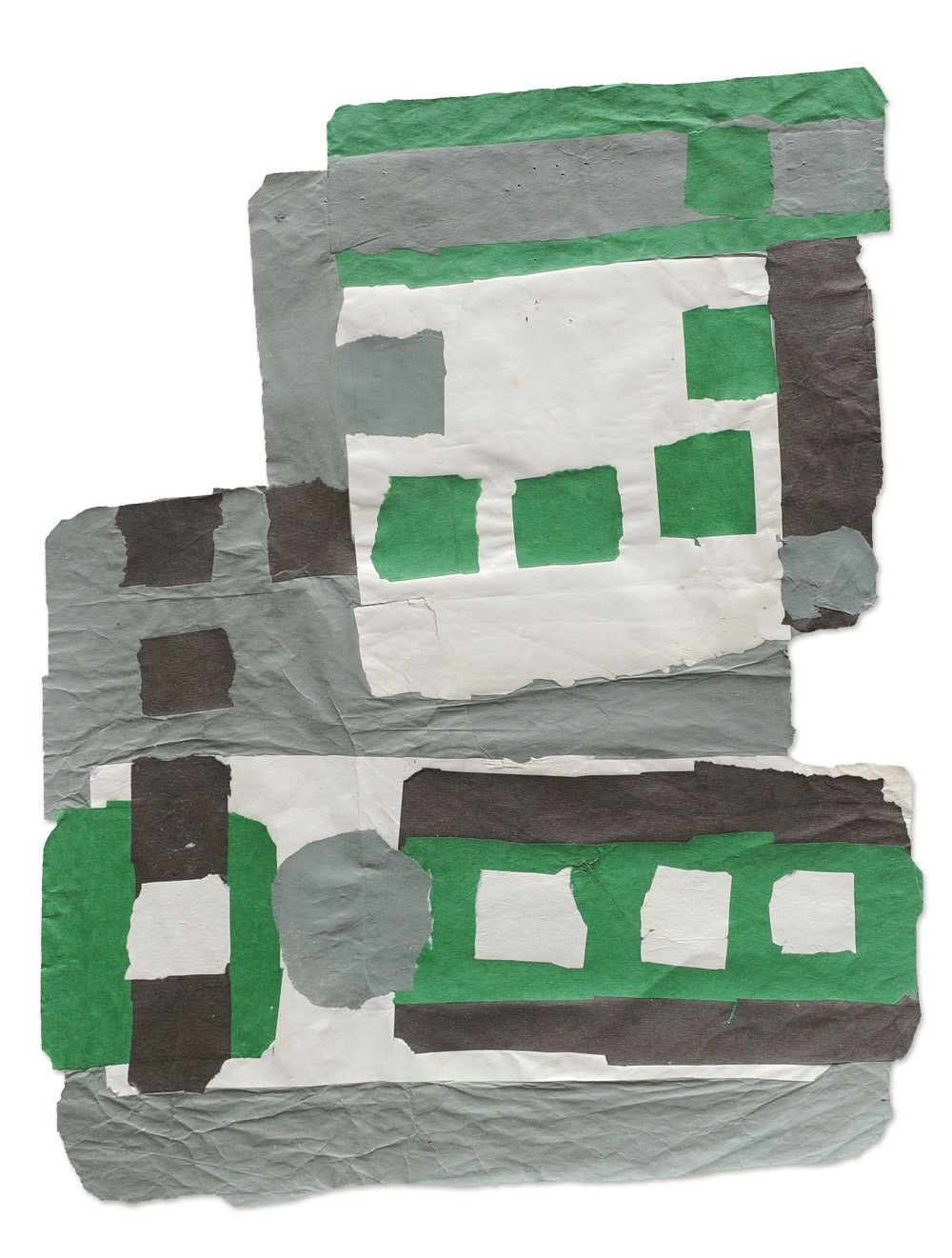 """Francis Davison [UK] (1919 - 1984) ~ """"Small Squares, Green, White, Grey and Brown"""" ca 1965-71. Paper collage (60 x 49 cm). 