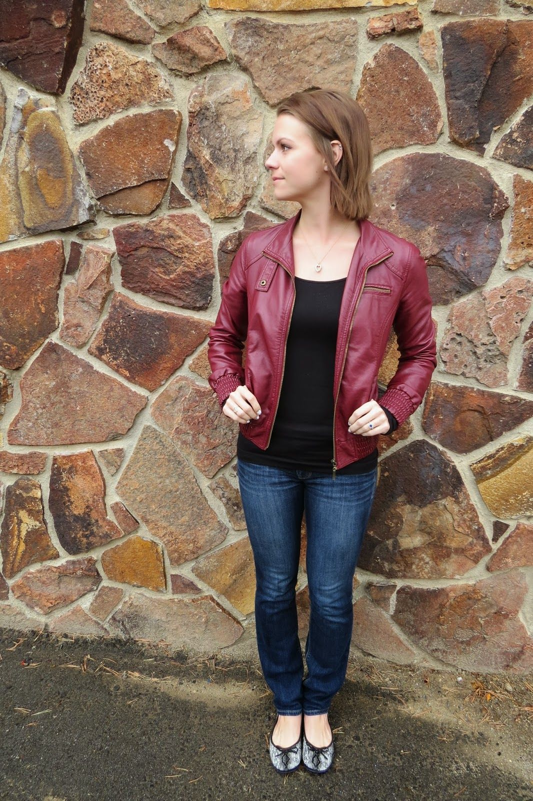 Faux Leather Bomber Jacket, Jeans and Snakeskin Flats