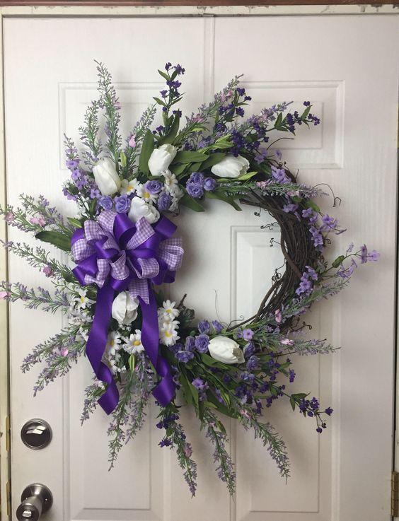 Photo of Spring wreath, spring front door decor, front door decor, door decor, purple floral wreath, spring floral wreath, floral wreath