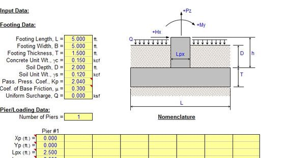 Spread Footing Design-Excel Sheet Download: This is a typical Excel