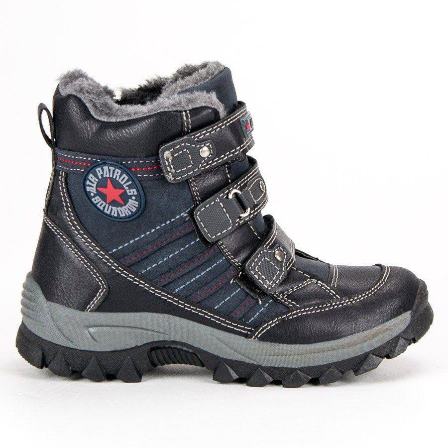 Kozaki Dla Dzieci Americanclub American Club Niebieskie Zimowe Obuwie Na Rzepy American Hiking Boots Boots Shoes