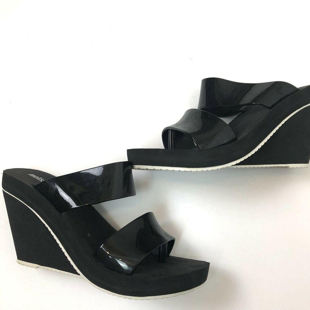 68775a4d8cae Melissa Black White platform slide Sandals Size 8  Melissa  Slides   platformhighheels