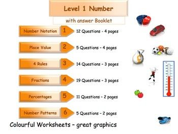 Numbers Workbook - Worksheet Booklet - Level 1- (with