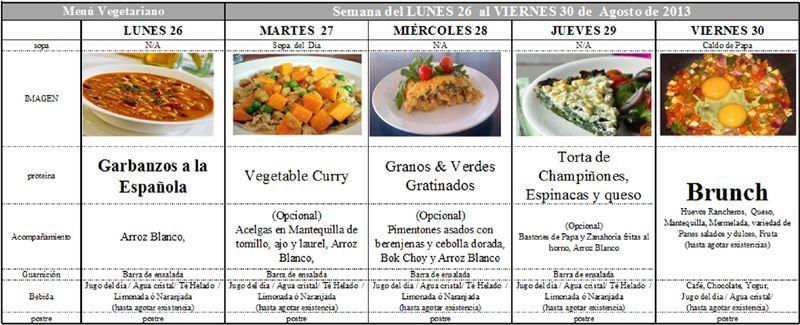 Menú Vegetariano del 26 al 30 de Agosto de 2013   RECETAS   Pinterest