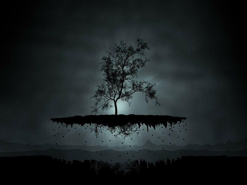 Nature Trees Floating Fantasy Art Floating Island -4145