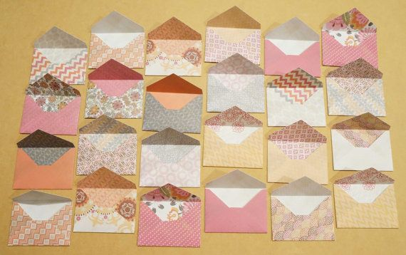 small envelopes made with double sided paper on Etsy by BurntCarmine