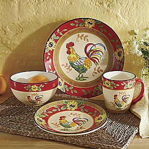 16-Piece Sunflower Rooster Dinnerware Set from Seventh Avenue ...