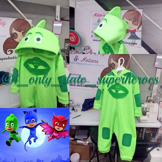 pj masks costume pajamas gekko owlette cat boy on etsy pj masks birthday pinterest. Black Bedroom Furniture Sets. Home Design Ideas