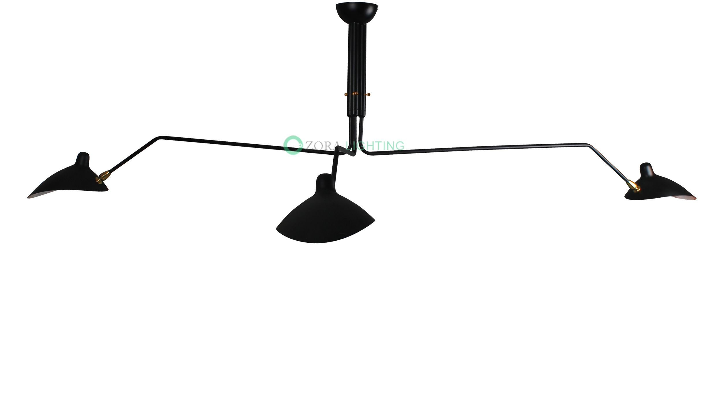 SERGE MOUILLE THREE ARM CEILING LAMP