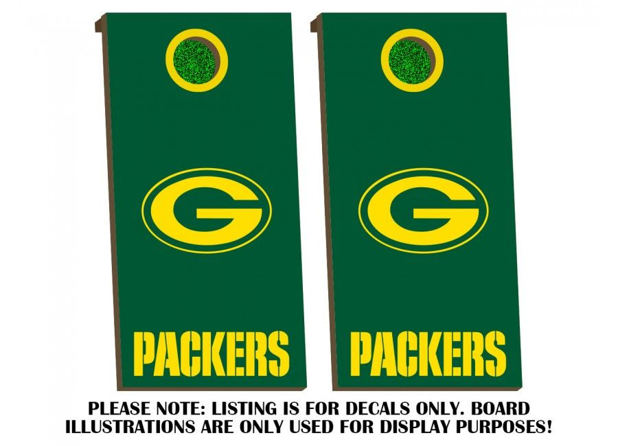 Green Bay Packers Cornhole Board Decal Kit Decal Sticker Hub Division Of Convixxion Com Cornhole Board Decals Cornhole Boards Green Bay Packers