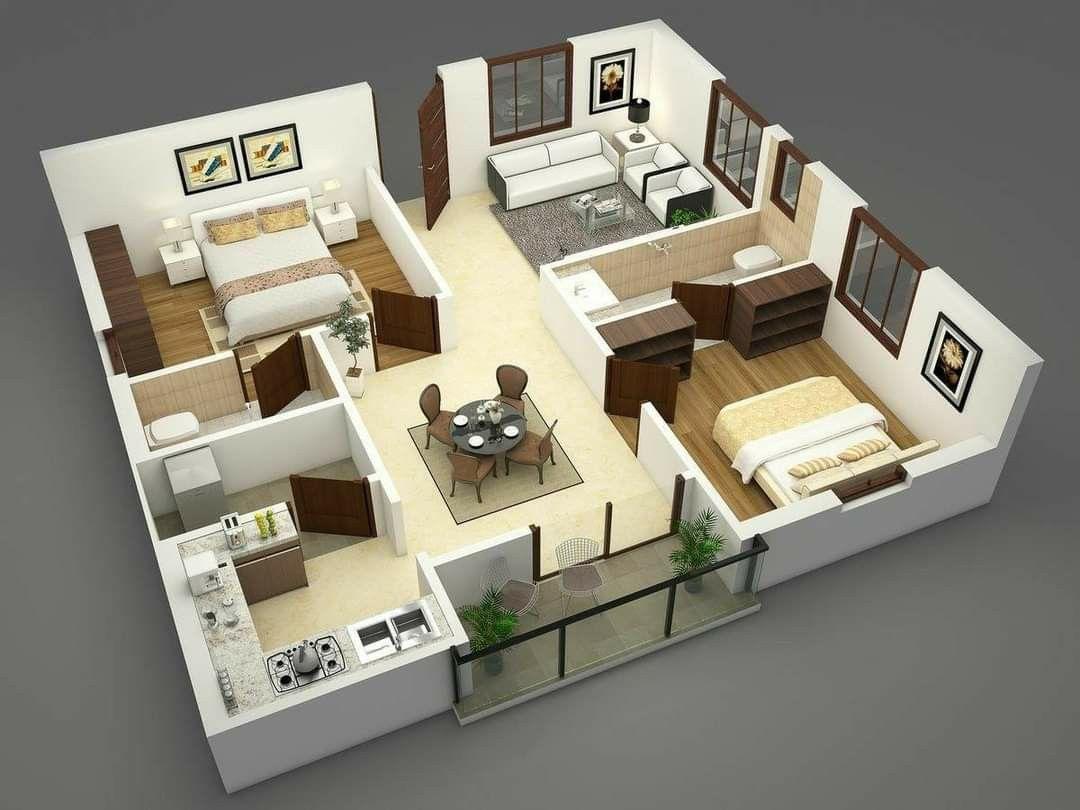 Pin By Gissel Garrido On Planos De Casas Small House Design Plans 2bhk House Plan 3d House Plans