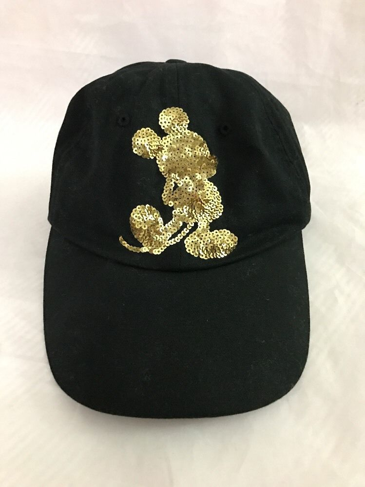 75663d8bd6d Disneyland Resort Mickey Mouse Bling Cap Adult Black Gold Sequin Adjustable   Disney