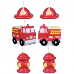 Fire Engine Shaped Cake Candles 6