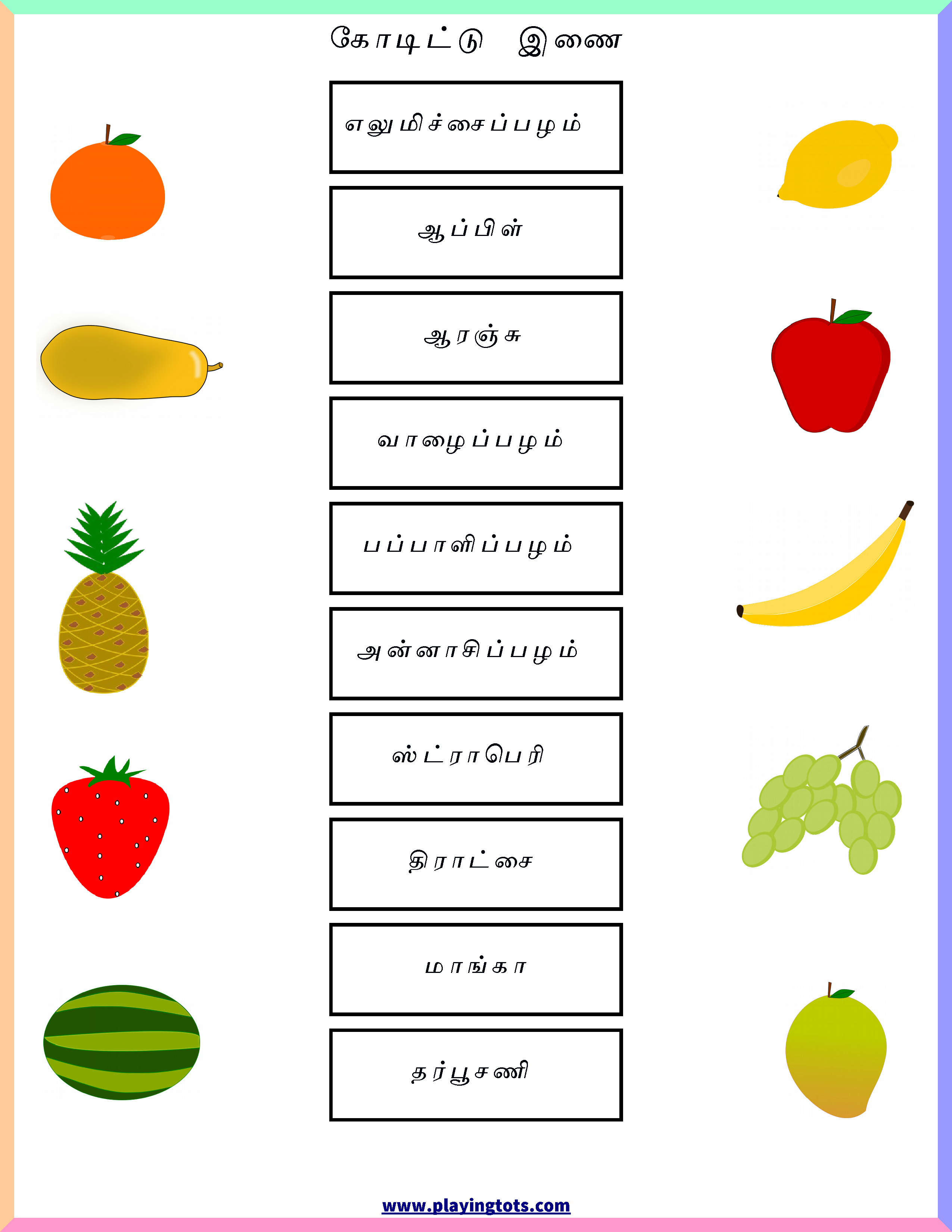 Pin by Playingtots on Free Printable to Teach Tamil to kids ...