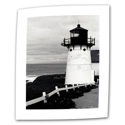 "ArtWall Montara Lighthouse by Kathy Yates Photographic Print on Rolled Canvas Size: 18"" H x 12"" W"