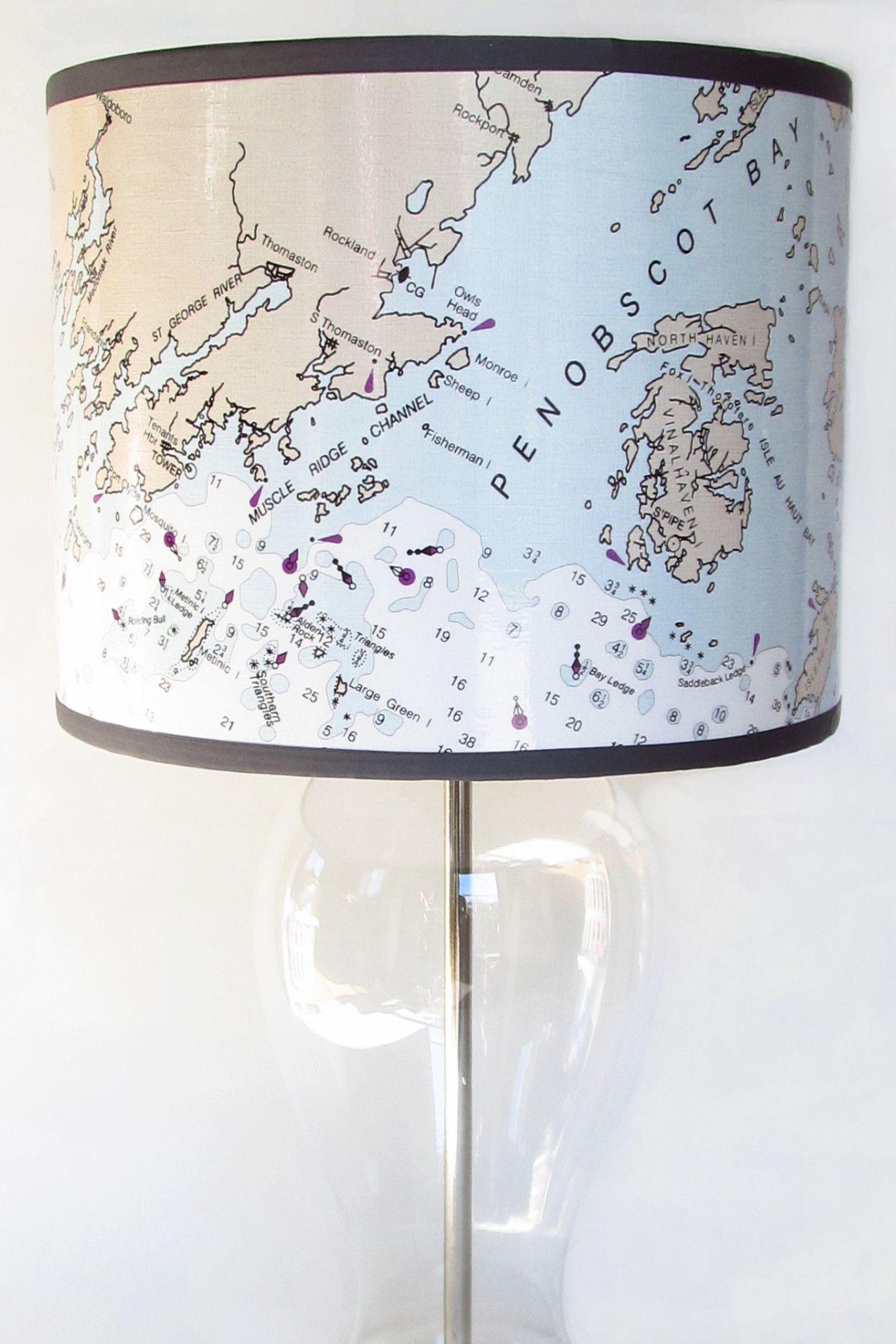 Penobscot Bay, Maine Nautical Chart Lamp Shade