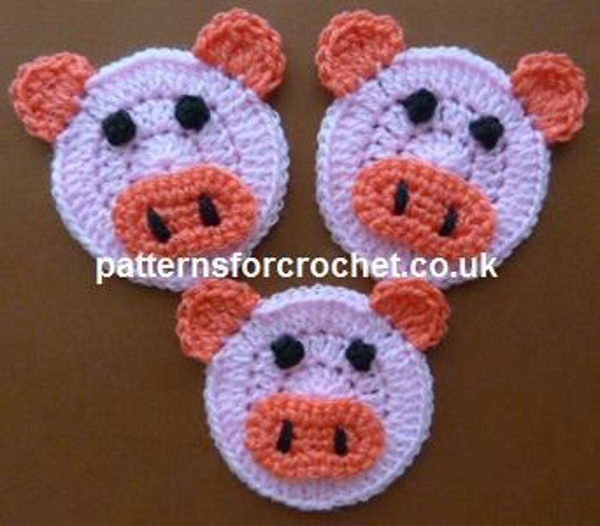 Pfc162 Piglet Applique Crochet Pattern Crochetknit Applique 3