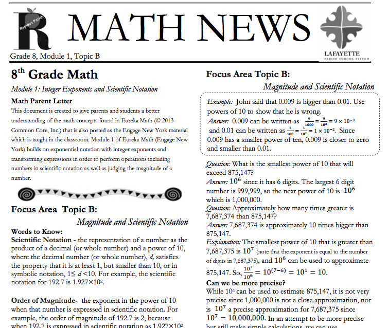 Grade 8, Module 1, Topic B, parent newsletter developed by