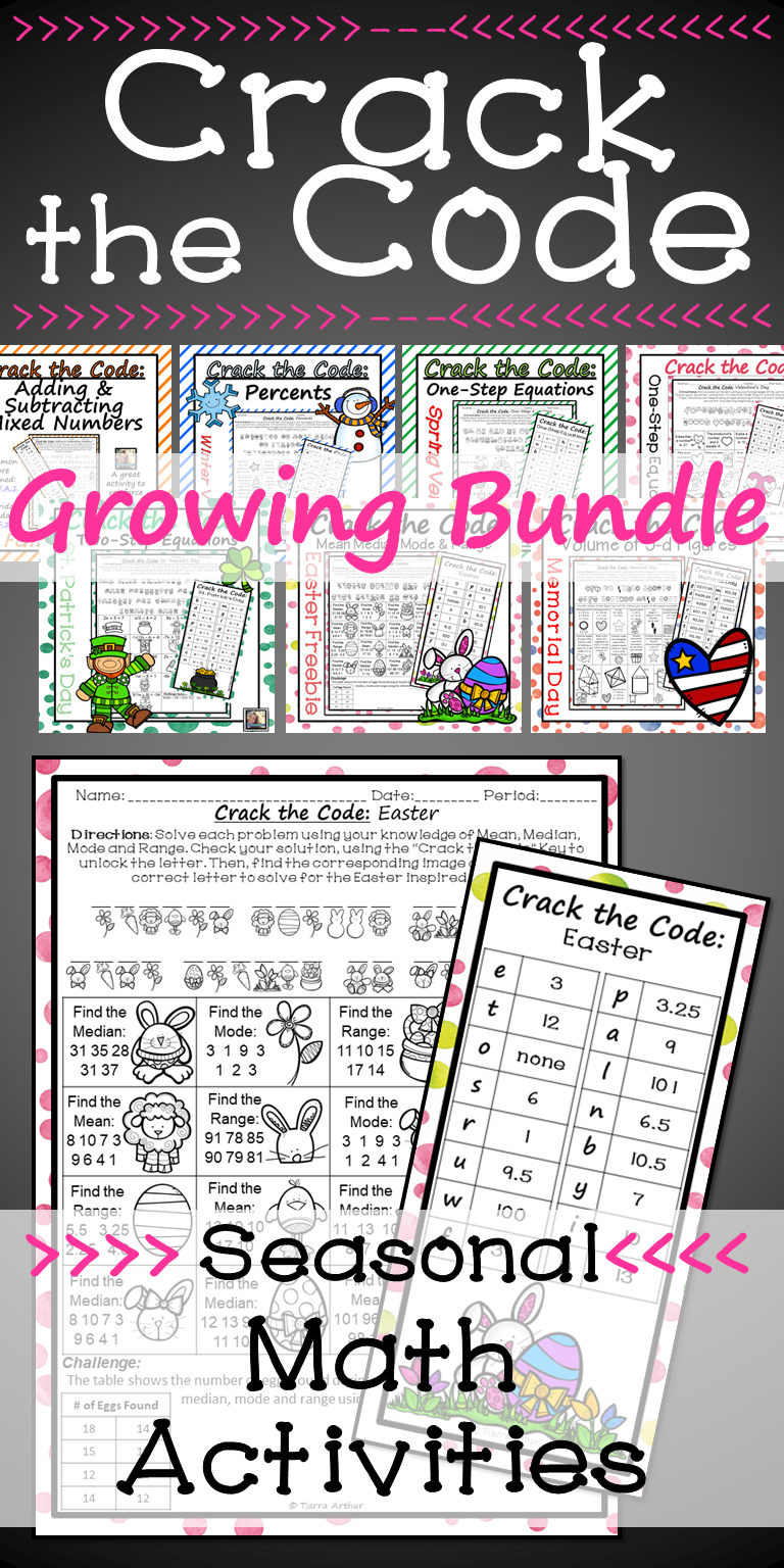 Holiday Math Worksheets Crack The Code Growing Bundle Back To