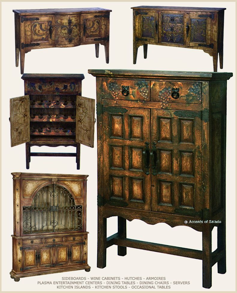 Rustic Spanish Hacienda Style Furniture But I Would Like One Or All Of Them In Distressed Vibrant Colors