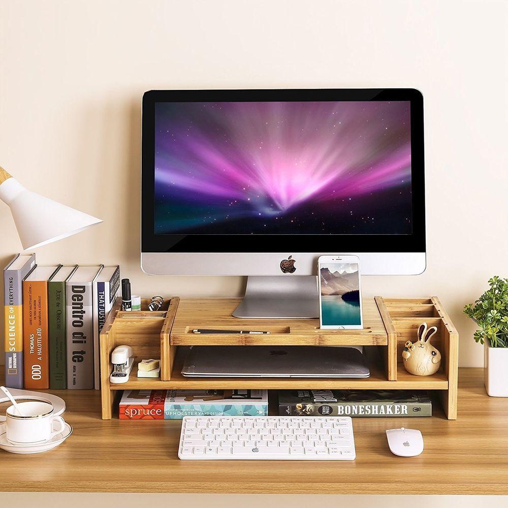 Bamboo Monitor Stand Computer Riser 2 Ttier Desktop Storage Desk