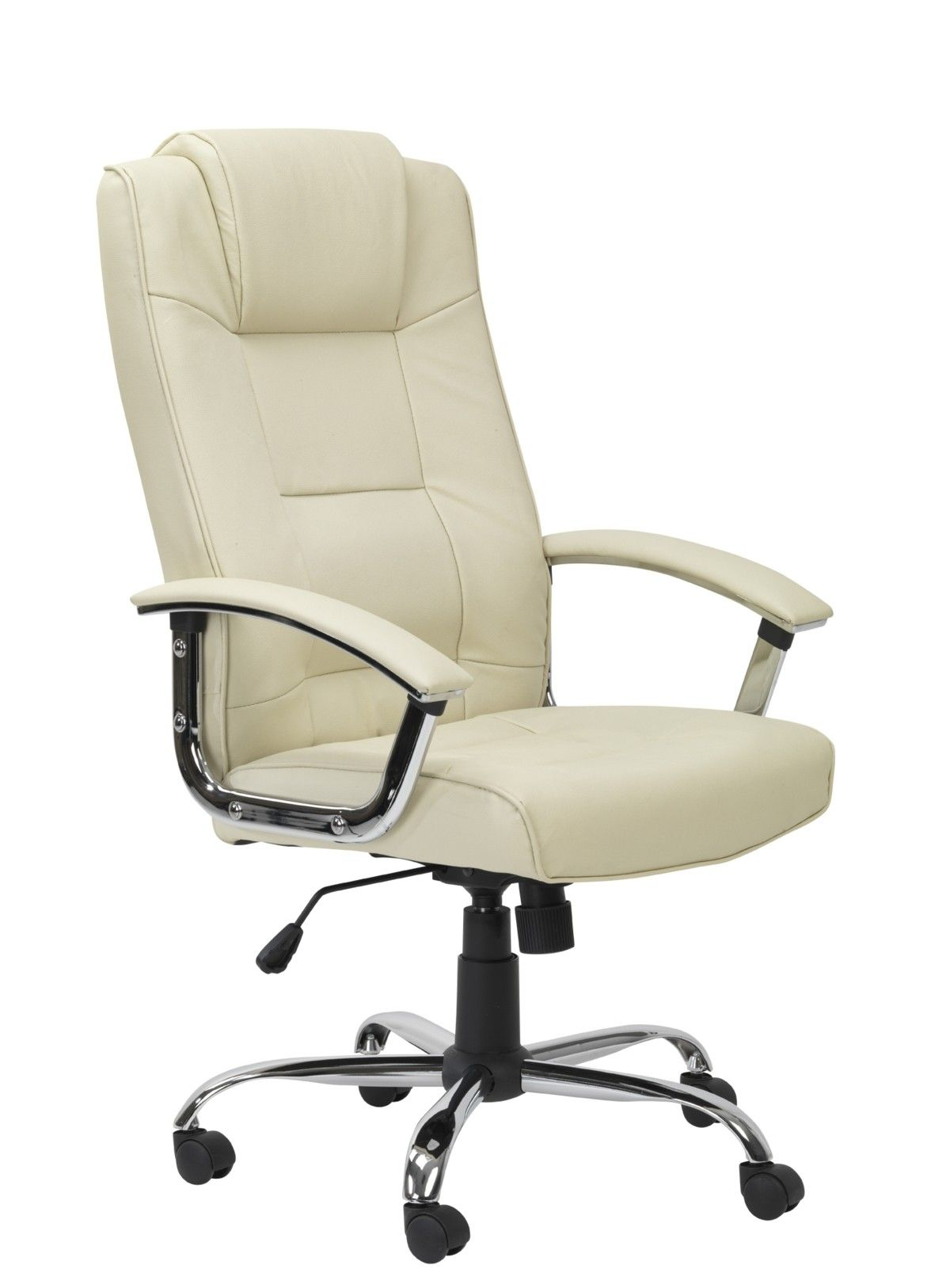 A Leather Faced Executive Chair With A High Backrest And