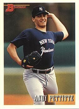1993 Bowman Baseball Andy Pettitte Rookie Card By Bowman
