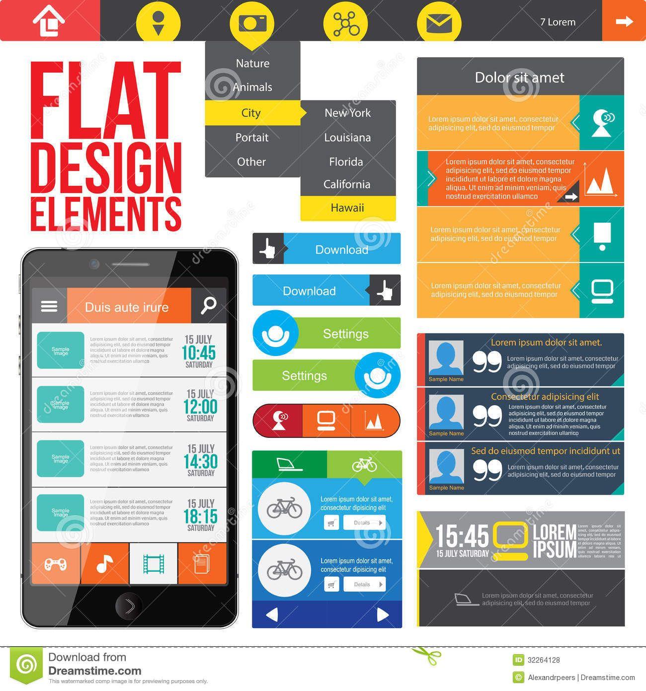 Free Web Design Elements Flat Web Design Web Design Free Web Design