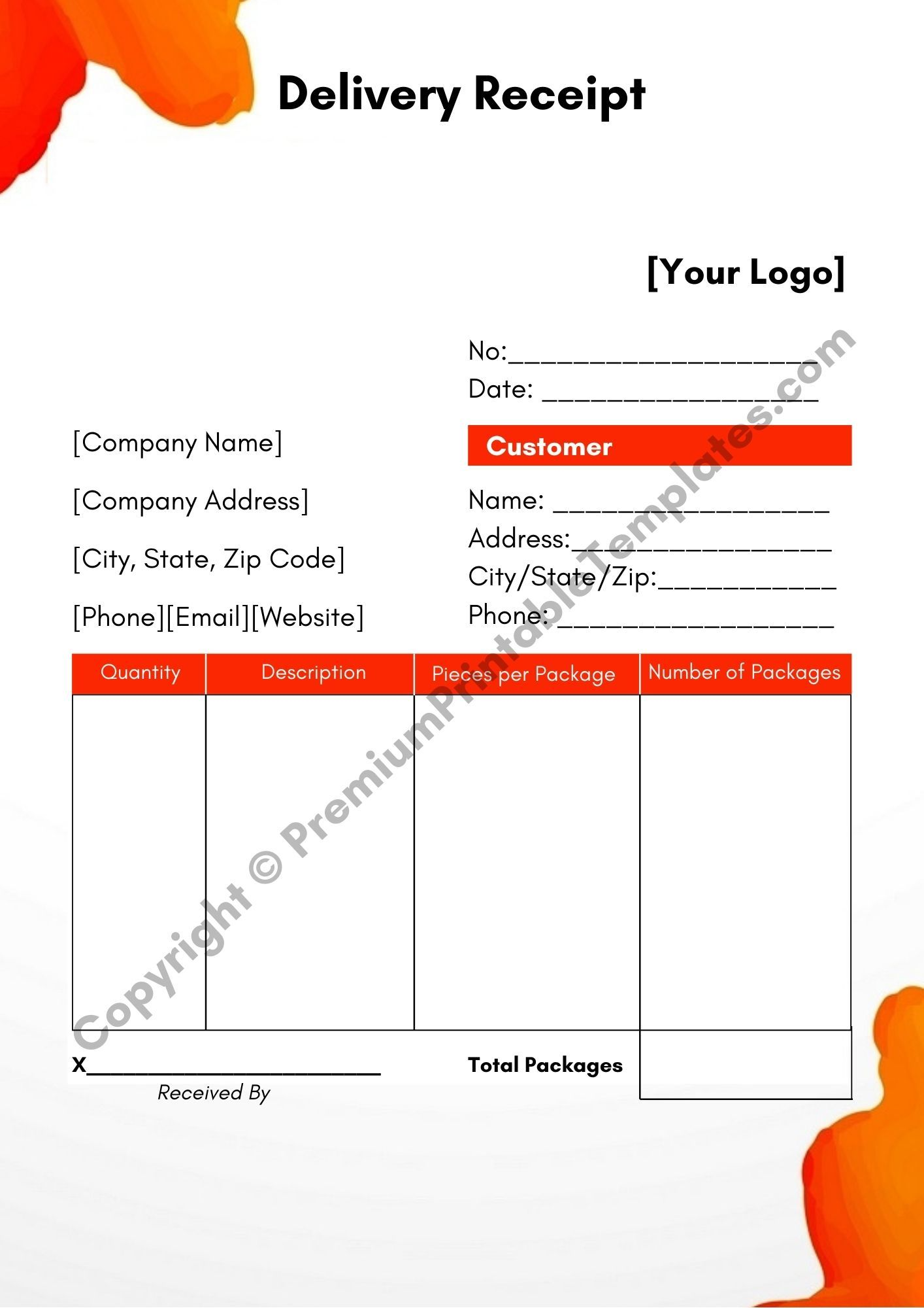 Delivery Receipt Template Pack Of 5 Premium Printable Templates Receipt Template Template Printable Templates