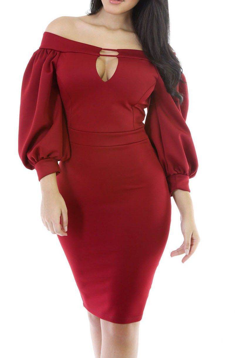 Red puffs sleeve peep hole off shoulder midi bodycon dress