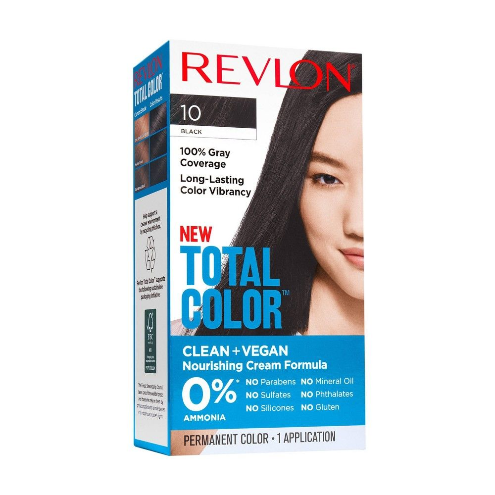Revlon Total Color Clean And Vegan Hair Color With 100 Gray Coverage Black 5 94 Fl Oz In 2020 At Home Hair Color Grey Hair Coverage Hair Color Options