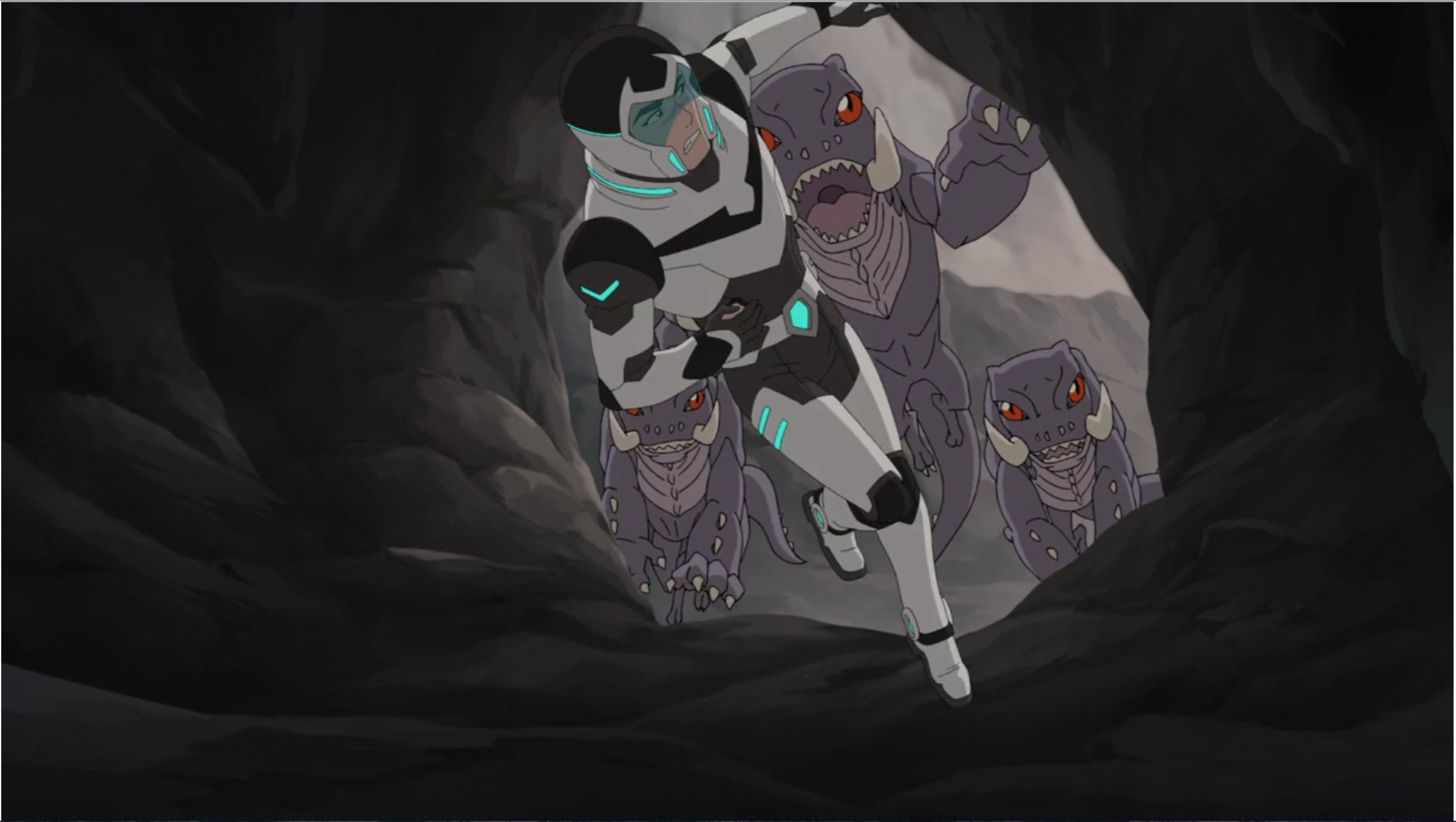 shiro being chased by alien giant lizards and dive into the cave for