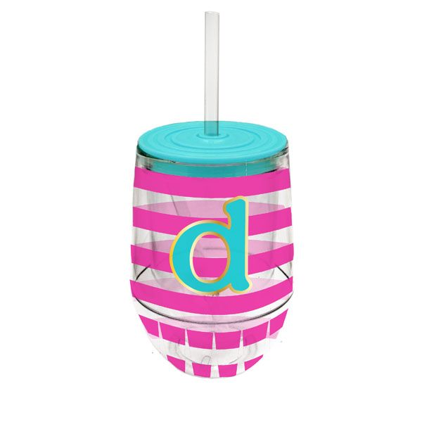 Monogram Stemless Wine Cup-D - Occasionally Made - Monogram Gifts - Great Gift Ideas for Her