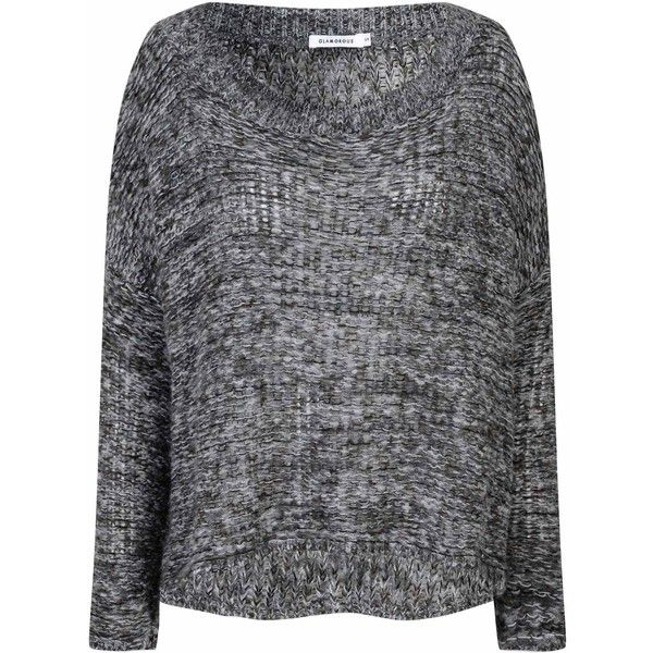 Charcoal Marl Oversized Jumper (715 MXN) ❤ liked on Polyvore featuring tops, sweaters, grey, jumper, long sleeve tops, loose sweater, long sleeve sweaters, oversized grey sweater and oversized jumper