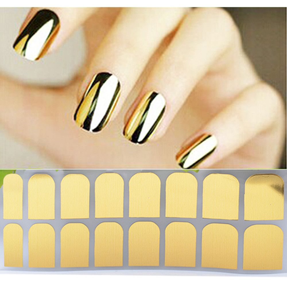 $5.00 New Fashion Nail Sticker Gold And Silver Black Metal Color ...