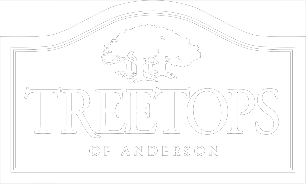 residential signage for treetops of anderson subdivision sign by