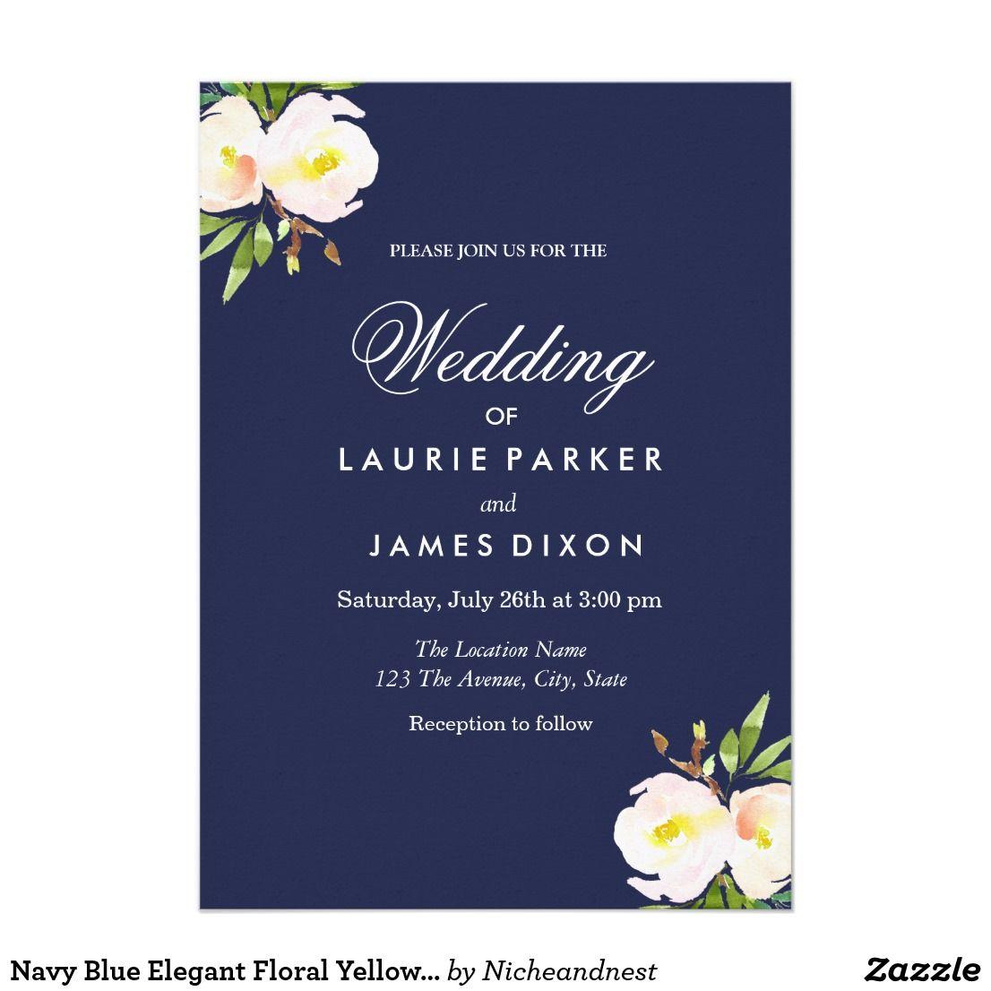 Navy Blue Elegant Floral Yellow Wedding Invitation | Wedding ...