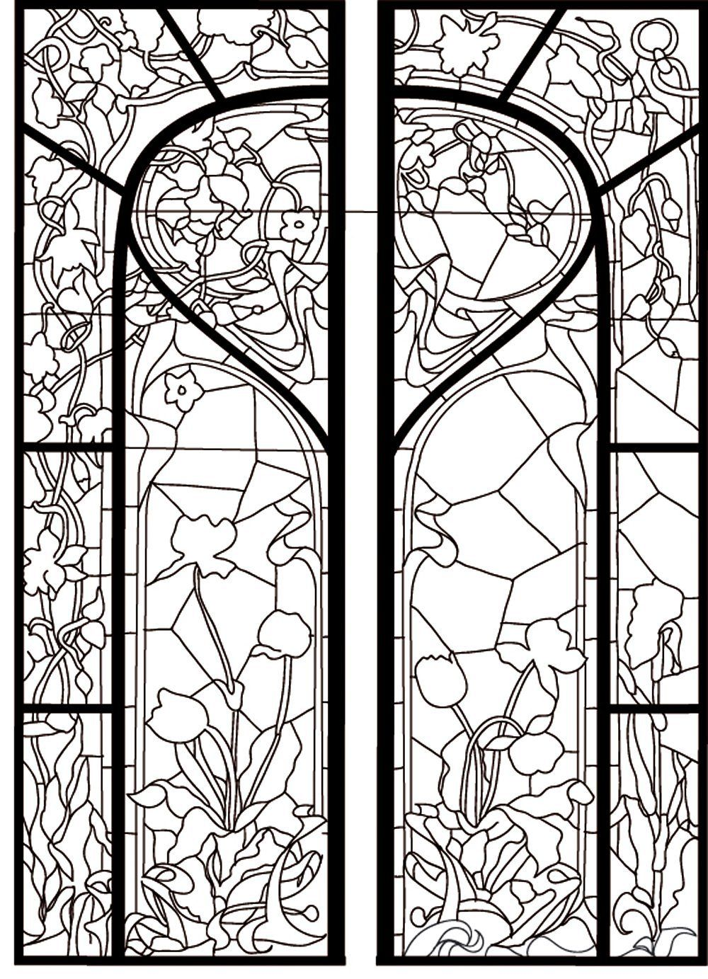 18++ Printable stained glass window coloring page download HD