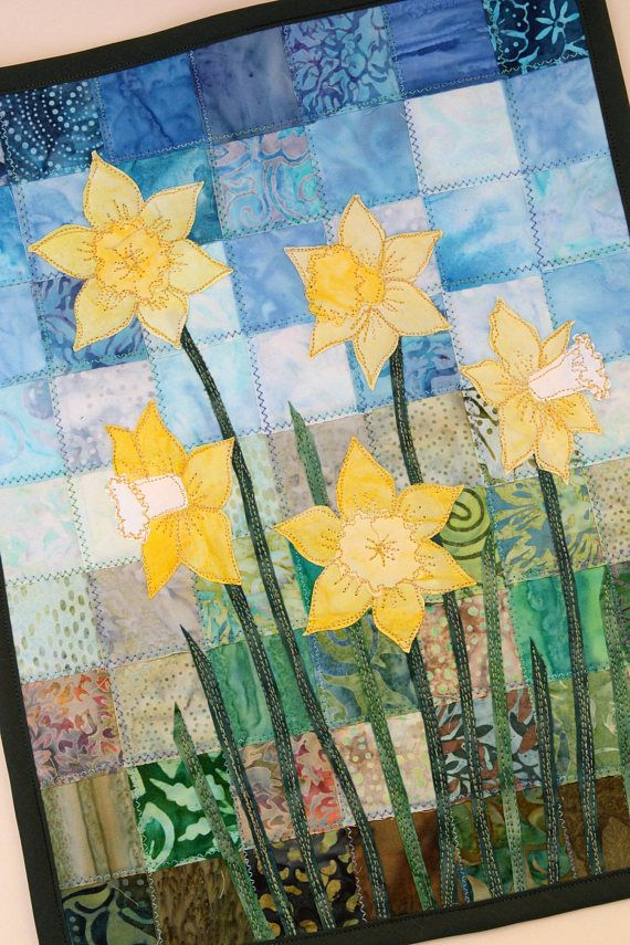Batik Daffodil Quilted Wall Hanging Art Quilt Pattern Or Etsy In 2021 Quilted Wall Hangings Art Quilts Picture Quilts