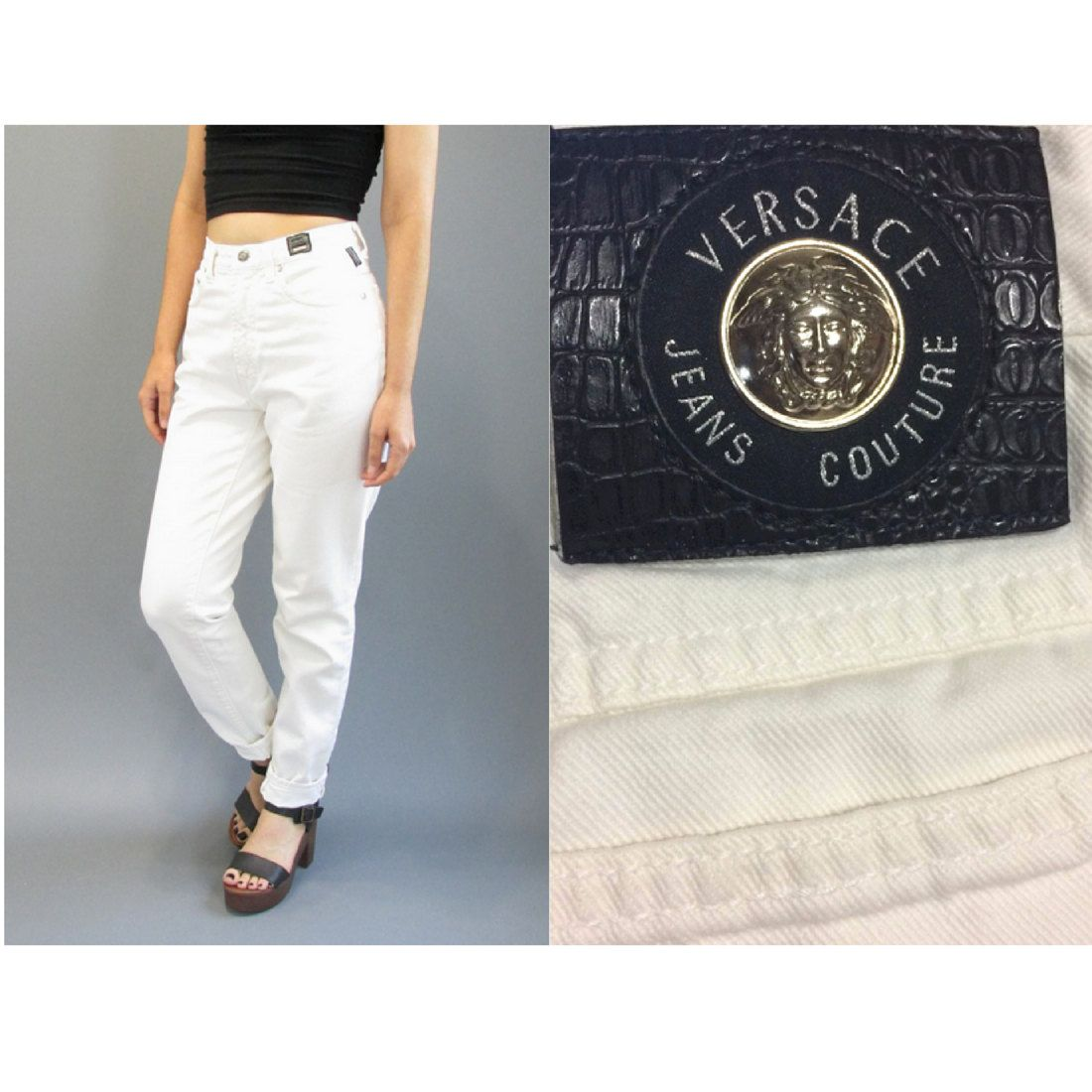 ae139d5a8d1de New to ColonyVtg on Etsy  Vintage 80s Versace White Jeans Size 27 28 Made  in Italy Vintage Versace Designer Jeans High Waisted Mom Jeans Size 28  Small ...