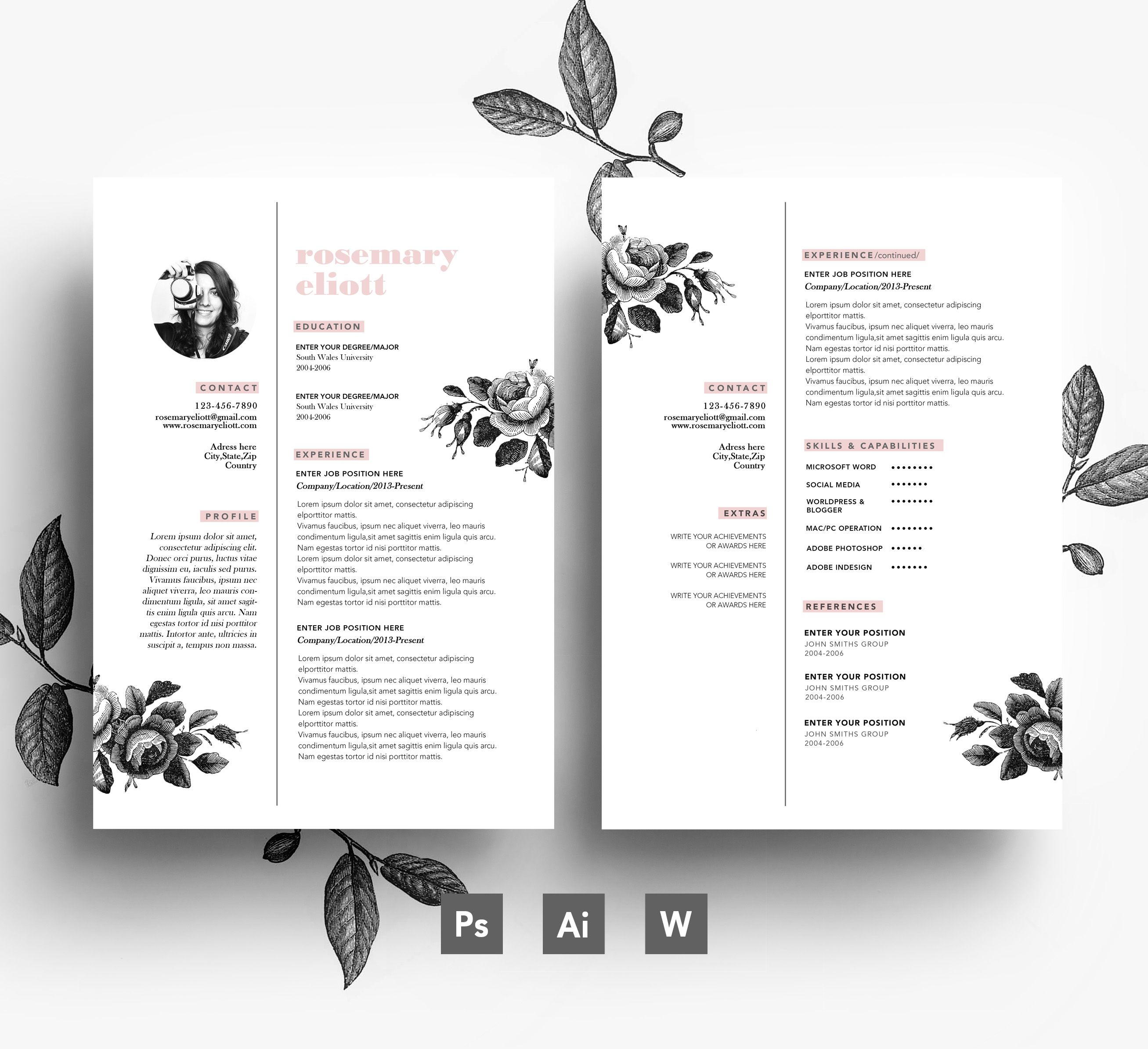 Creative CV template + Business card + Cover letter   Flower Resumes ...
