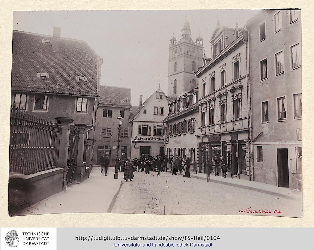 Padagogdtr 1896 Links Der Frankensteiner Hof Im Hintergrund Die Stadtkirche Darmstadt Stadt Frauenarzt