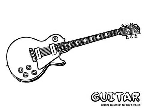 Boy with guitar colouring pages