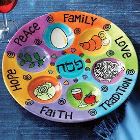 Good Things (Family Peace Love Hope) Ceramic Seder Plate & Good Things (Family Peace Love Hope) Ceramic Seder Plate | GG ...
